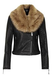 Topshop Tall Faux Fur Shawl Biker Black