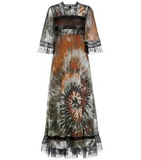 Valentino Printed Cotton Maxi Dress Green