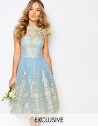 Chi Chi London Premium Metallic Lace Midi Prom Dress With Bardot Neck Cashmere Blue Gold
