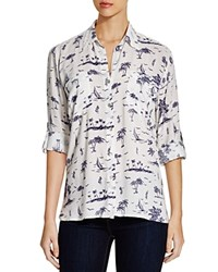 4Our Dreamers Tropical Print Shirt White Navy
