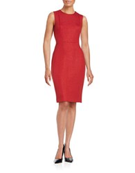 Calvin Klein Metallic Sleeveless Sheath Dress Red