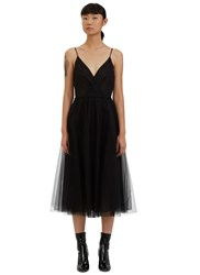 Valentino Tulle Mesh Spaghetti Strap Dress Black
