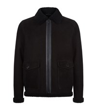 Z Zegna Shearling Aviator Jacket Male Black