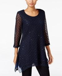 Jm Collection Sequined Knit Tunic Only At Macy's Intrepid Blue