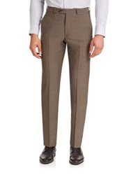 Armani Collezioni Sharks Virgin Wool Dress Pants Coffee