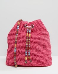 South Beach Slouch Straw Shoulder Bag Pink