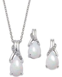 Macy's Opal 1 3 8 Ct. T.W. And Diamond Accent Jewelry Set In Sterling Silver