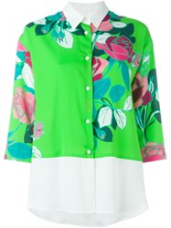 I'm Isola Marras Floral Print Panel Shirt Green