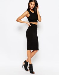 Daisy Street Knitted Pencil Skirt Black