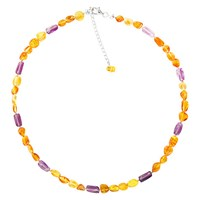 Goldmajor Sterling Silver Amber And Amethyst Collar Necklace Silver Amber