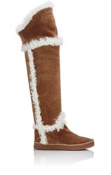 Sartore Women's Shearling Lined Over The Knee Boots Brown