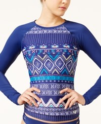 Roxy Exotic Printed Rash Guard Women's Swimsuit Marine Multi