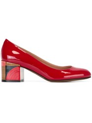 L'autre Chose Block Heel Pumps Red
