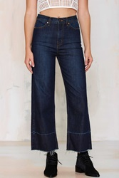 Denim Mad Crops Wide Leg Jean In Dark Wash
