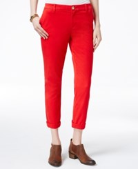 Tommy Hilfiger Cuffed Chino Straight Leg Pants Only At Macy's Racing Red