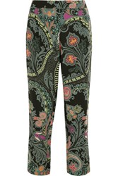 Etro Paisley Print Silk Straight Leg Pants Black