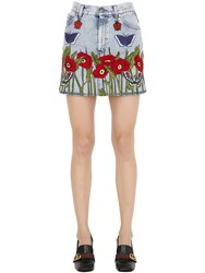 Gucci High Waist Embroidered Denim Mini Skirt