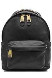 Moschino Leather Backpack With Gilded Logo Embellishment Black