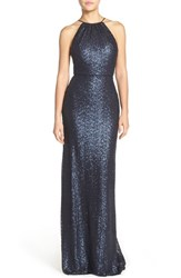 Women's Amsale 'Chandler' Sequin Tulle Halter Style Gown