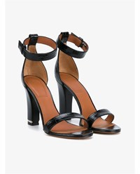 Givenchy Crocodile Embossed Chain Trim Leather Sandals Black Silver