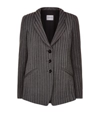 Armani Collezioni Slim Fit Herringbone Blazer Female Light Grey