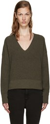 Helmut Lang Green Cotton And Cashmere Sweater