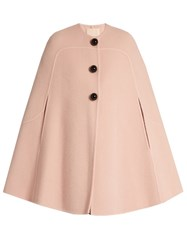 Roksanda Ilincic Ofili Oversized Button Wool And Mohair Blend Cape Light Pink