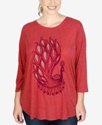 Lucky Brand Trendy Plus Size Peacock Graphic T Shirt Biking Red