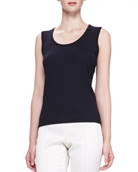 Oscar De La Renta Scoop Neck Tank Navy