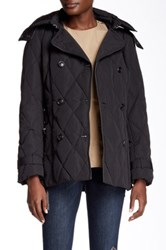 Cole Haan Faux Fur Trimmed Hooded Down Peacoat Black