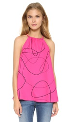 Lisa Perry Scribble Halter Top Pink Black
