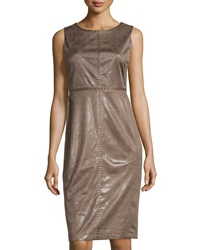 Label By 5Twelve Sleeveless Embellished Faux Suede Midi Dress Taupe