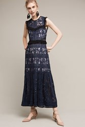 Anthropologie Laced Dusk Midi Dress Navy