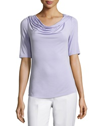 Lafayette 148 New York Twisted Cowl Neck Half Sleeve Tee Glacee