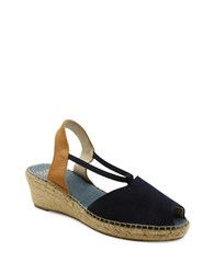 Andre Assous Dainty Espadrille Suede Wedge Sandals Navy Blue