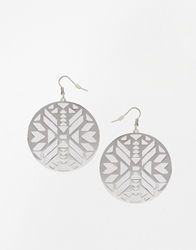 Asos Aztec Disc Earrings Silver