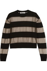 Mcq By Alexander Mcqueen Tulle And Wool Blend Top Black