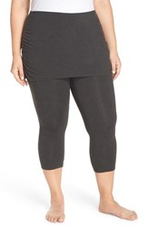 Zella Plus Size Women's 'Layer Me Up' Skirted Crop Leggings Grey Dark Charcoal Htr