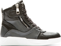Dolce And Gabbana Grey Panelled Leather High Top Sneakers