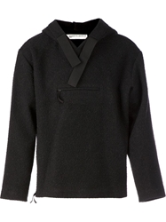 Tillmann Lauterbach V Neck Lapel Hooded Sweater Black