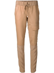 Kaufmanfranco Leather Front Slim Trousers Brown