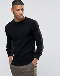 Selected Crew Neck Textured Knitted Jumper Black