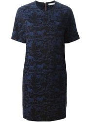 See By Chloe Horse Jacquard Dress Blue