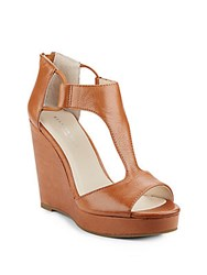 Kenneth Cole Hayley Leather T Strap Wedge Sandals Medium Brown
