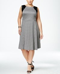 Ny Collection Plus Size Faux Leather Trim Herringbone Fit And Flare Dress Jet Houndstooth