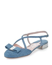 Salvatore Ferragamo Felma Strappy Denim Flat Blue