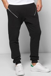 Boohoo Fit Pique Jogger With Slanted Zip Black