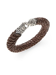 Scott Kay Twisted Woven Leather Bracelet Silver Brown