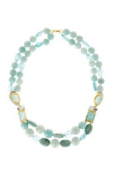 Alexis Bittar Crystal Studded Spur Trimmed Amazonite Double Strand Beaded Necklace Metallic