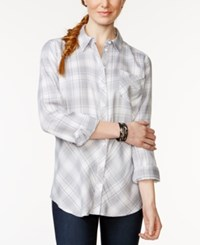 G.H. Bass And Co. Long Sleeve Button Front Plaid Top Cloud